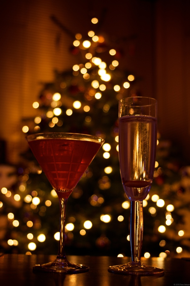 New Year drinks in front of Christmas tree