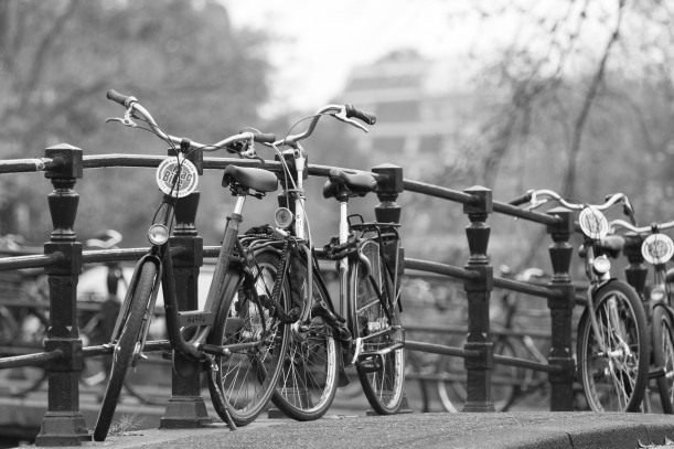 bicycles on a bridge