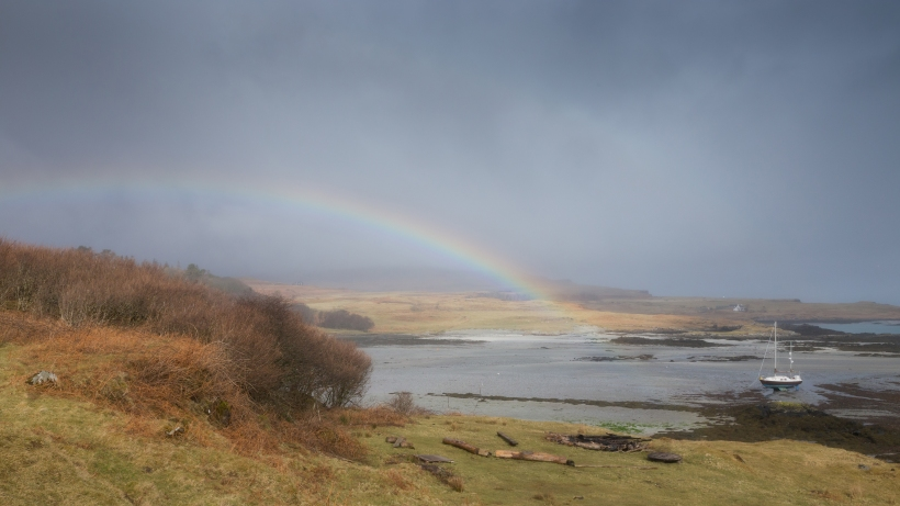 Rainbow over Eigg harbour