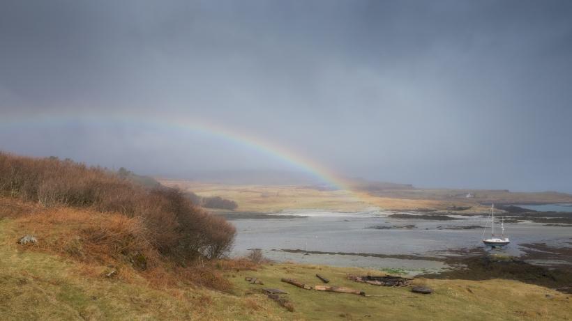 Rainbow over Eigg harbour