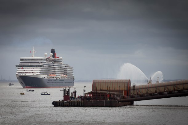 Queen Victoria turning in the river Mersey